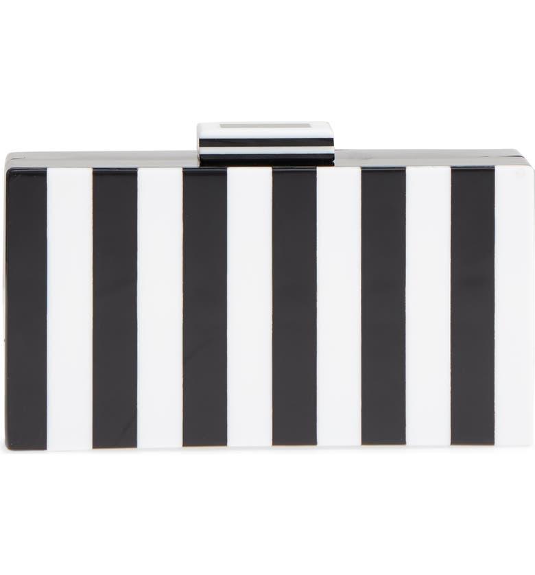 LIKE DREAMS Pippa Stripe Box Clutch, Main, color, 100
