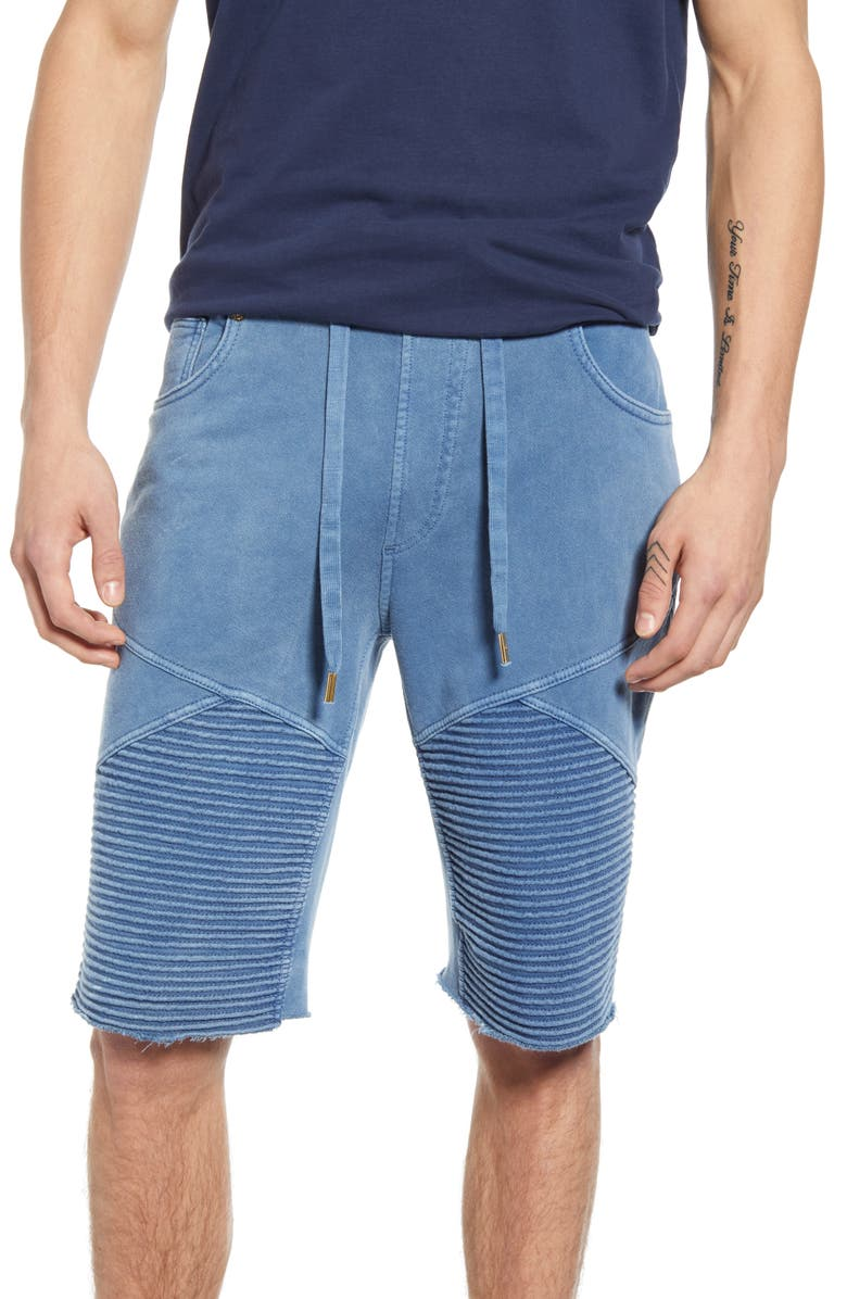 TRUE RELIGION BRAND JEANS Moto Sweat Shorts, Main, color, INDIGO