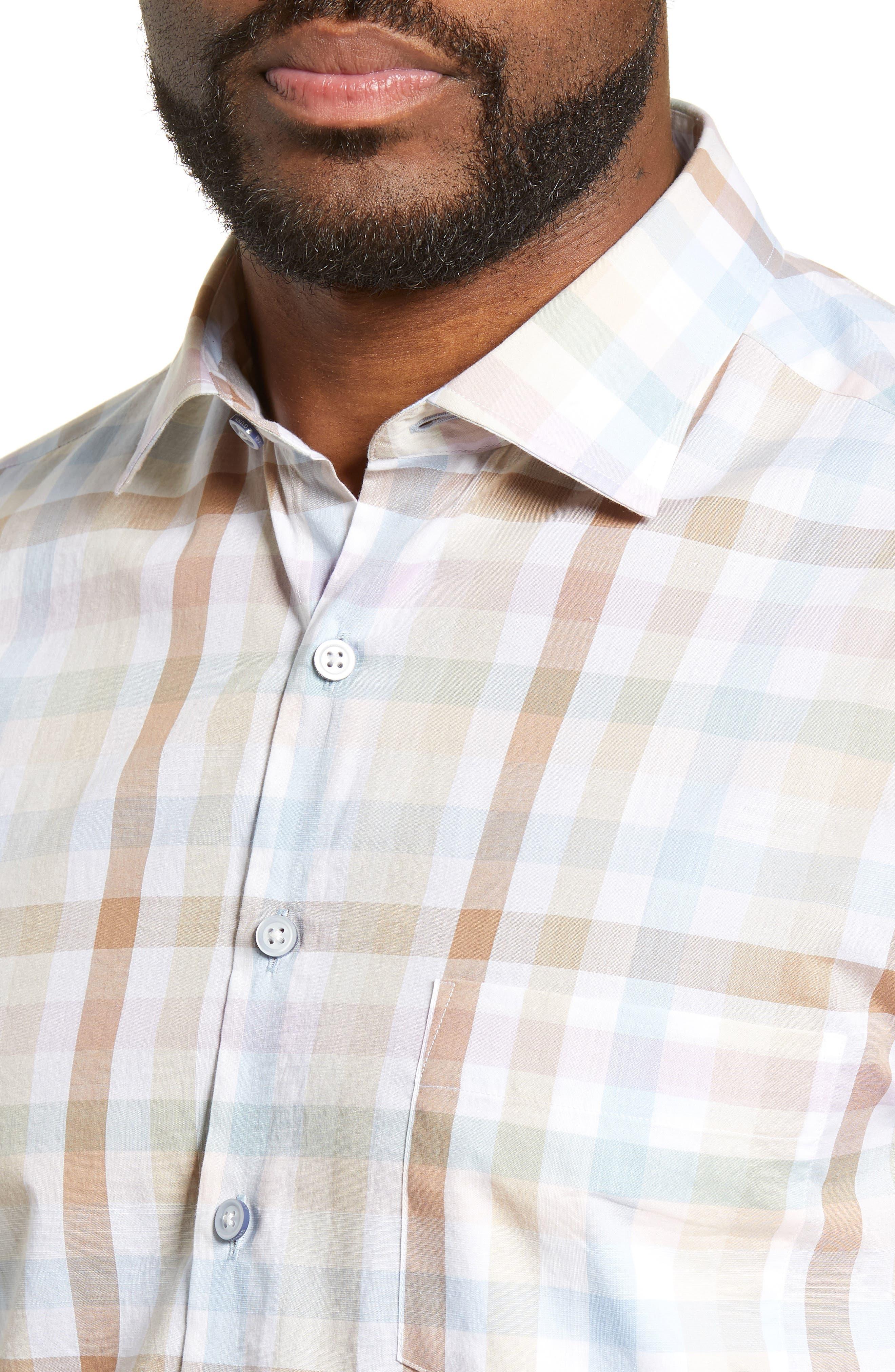 ,                             Collingwood Regular Fit Check Cotton Sport Shirt,                             Alternate thumbnail 2, color,                             WALNUT