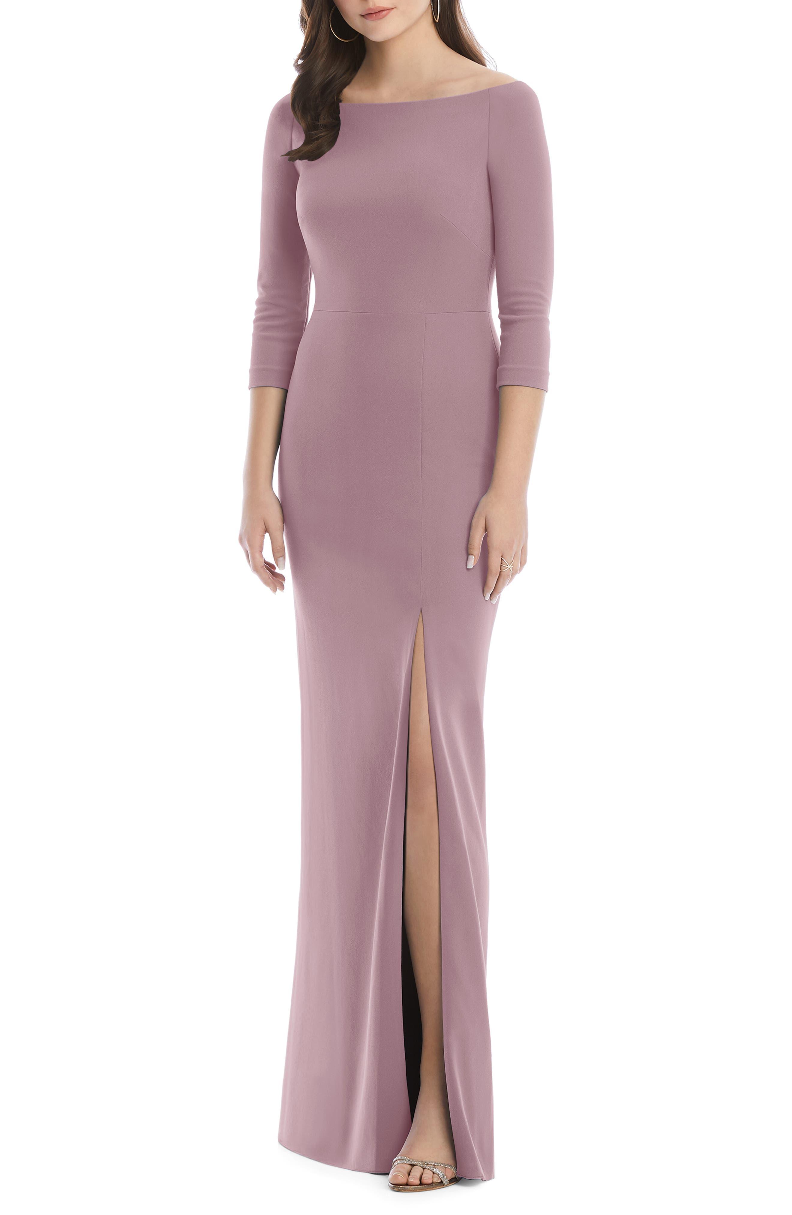 After Six Wide Bateau Neck Stretch Crepe Evening Dress, Pink