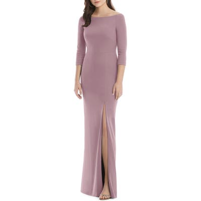 After Six Wide Bateau Neck Stretch Crepe Evening Dress, Pink