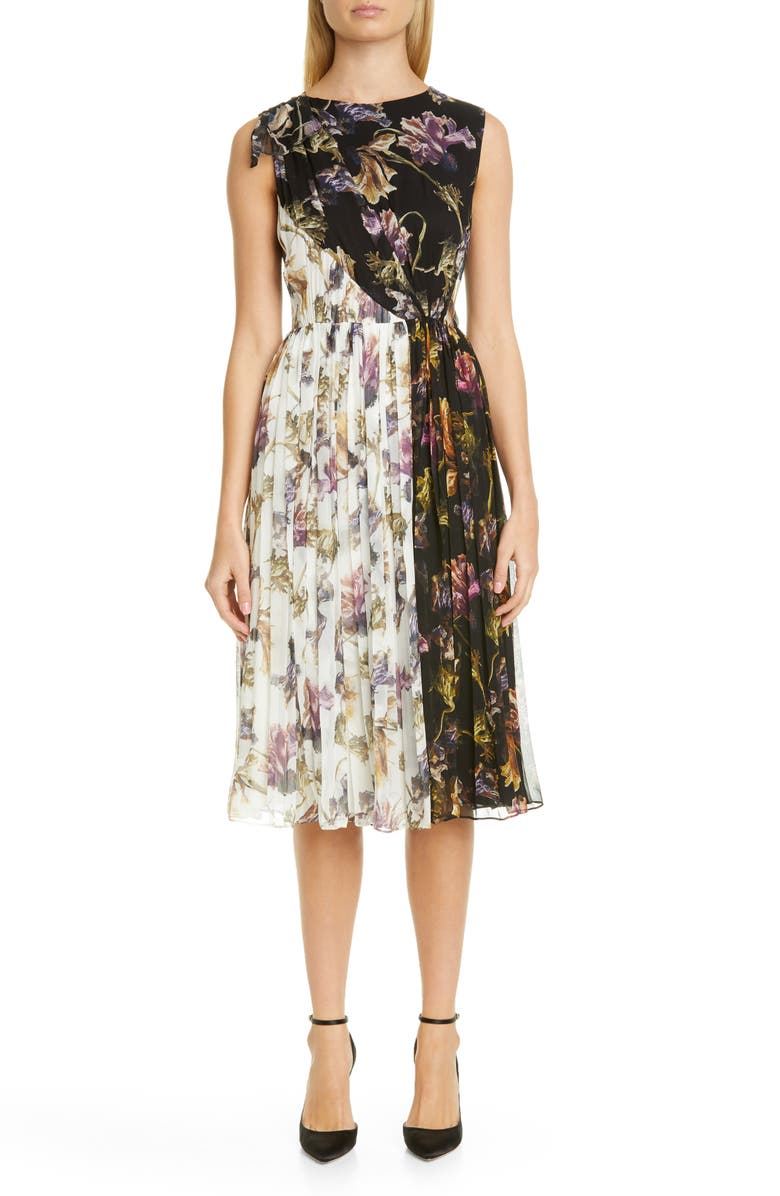 JASON WU COLLECTION Floral Print Colorblock Crinkle Silk Chiffon Dress, Main, color, 002