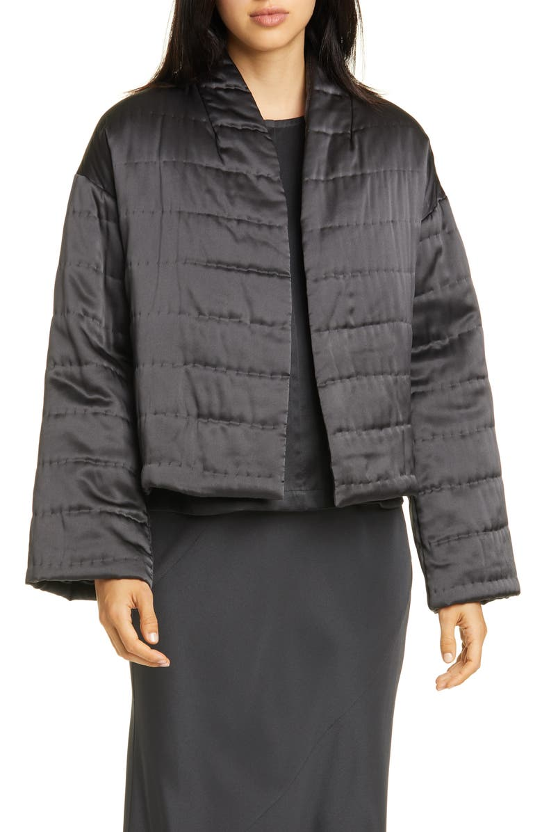 EILEEN FISHER Quilted Silk Coat, Main, color, CHARCOAL