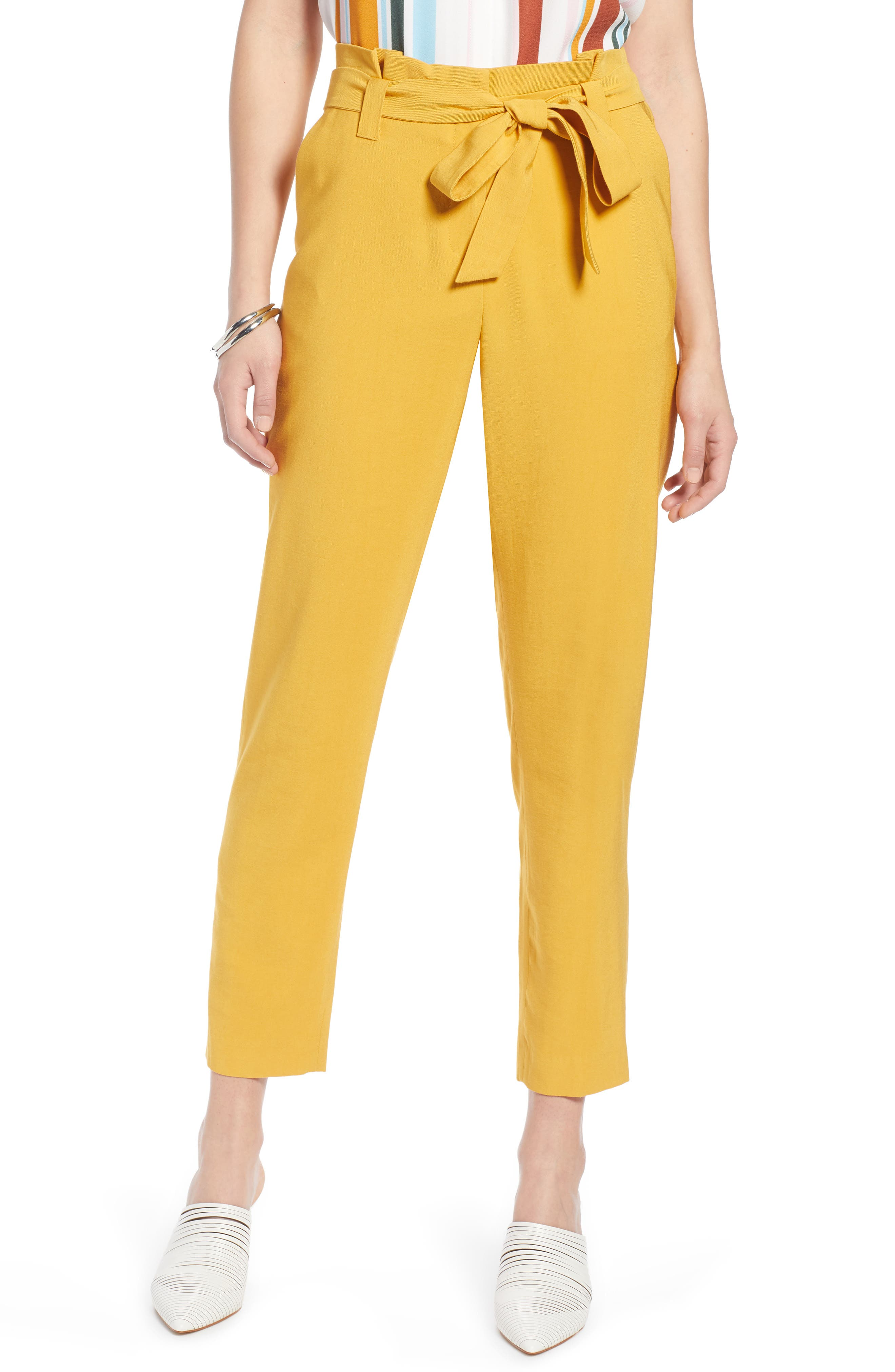 ,                             High Waist Tie Twill Pants,                             Main thumbnail 1, color,                             YELLOW MINERAL