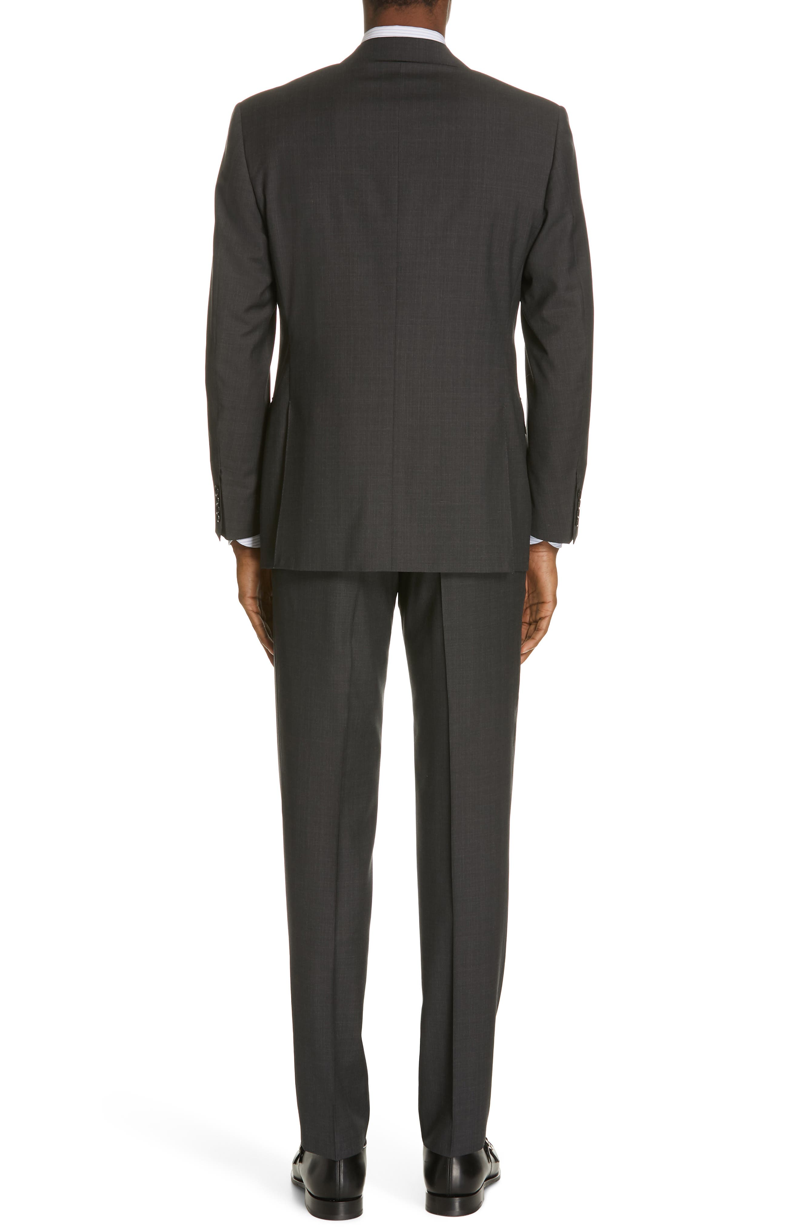 ,                             Siena Classic Fit Solid Super 130s Wool Suit,                             Alternate thumbnail 2, color,                             BLACK