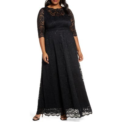 Plus Size Kiyonna Leona Lace Evening Gown, Black