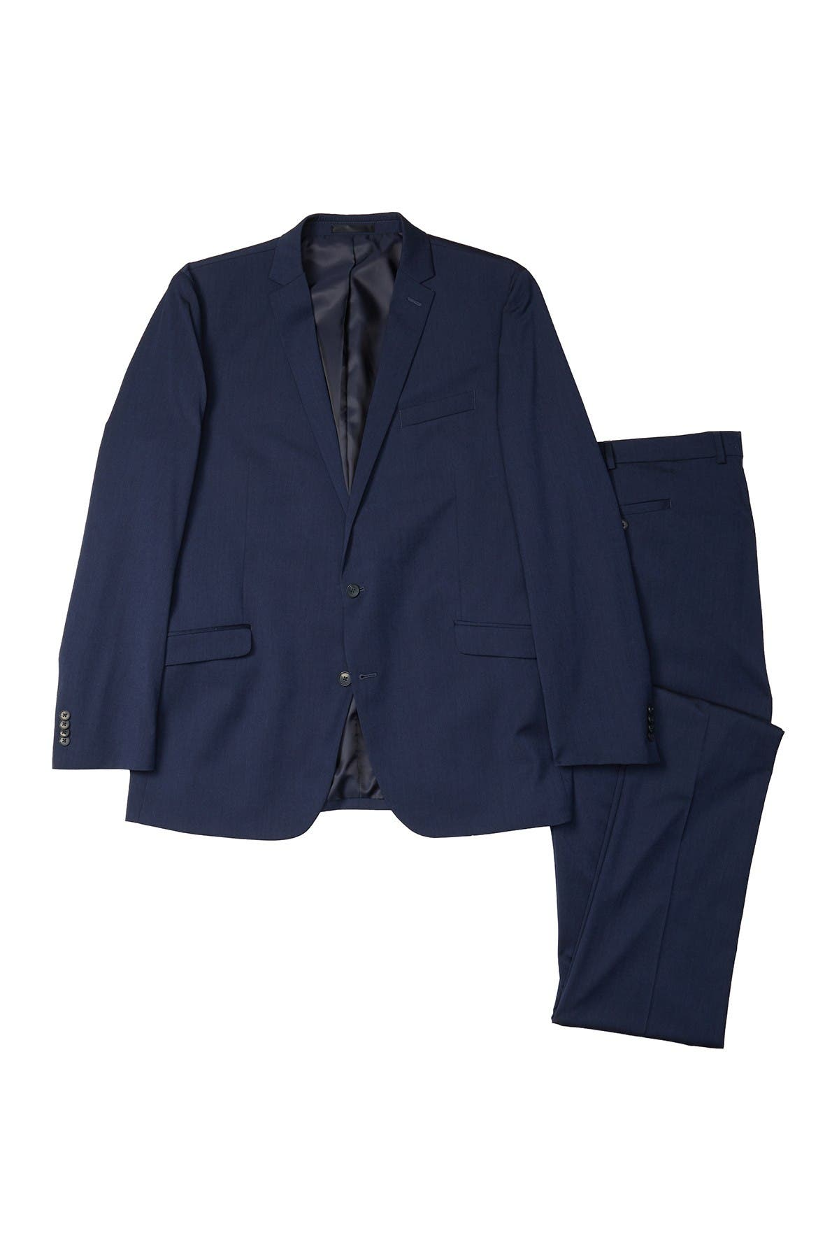 Image of Kenneth Cole Reaction Navy Iridescent Two Button Noth Flex Fit Suit