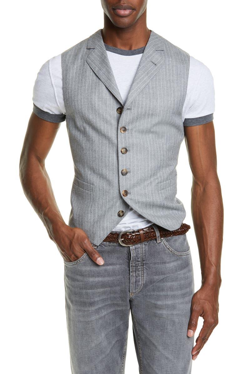BRUNELLO CUCINELLI Chalk Stripe Wool Gilet, Main, color, PEARL GREY