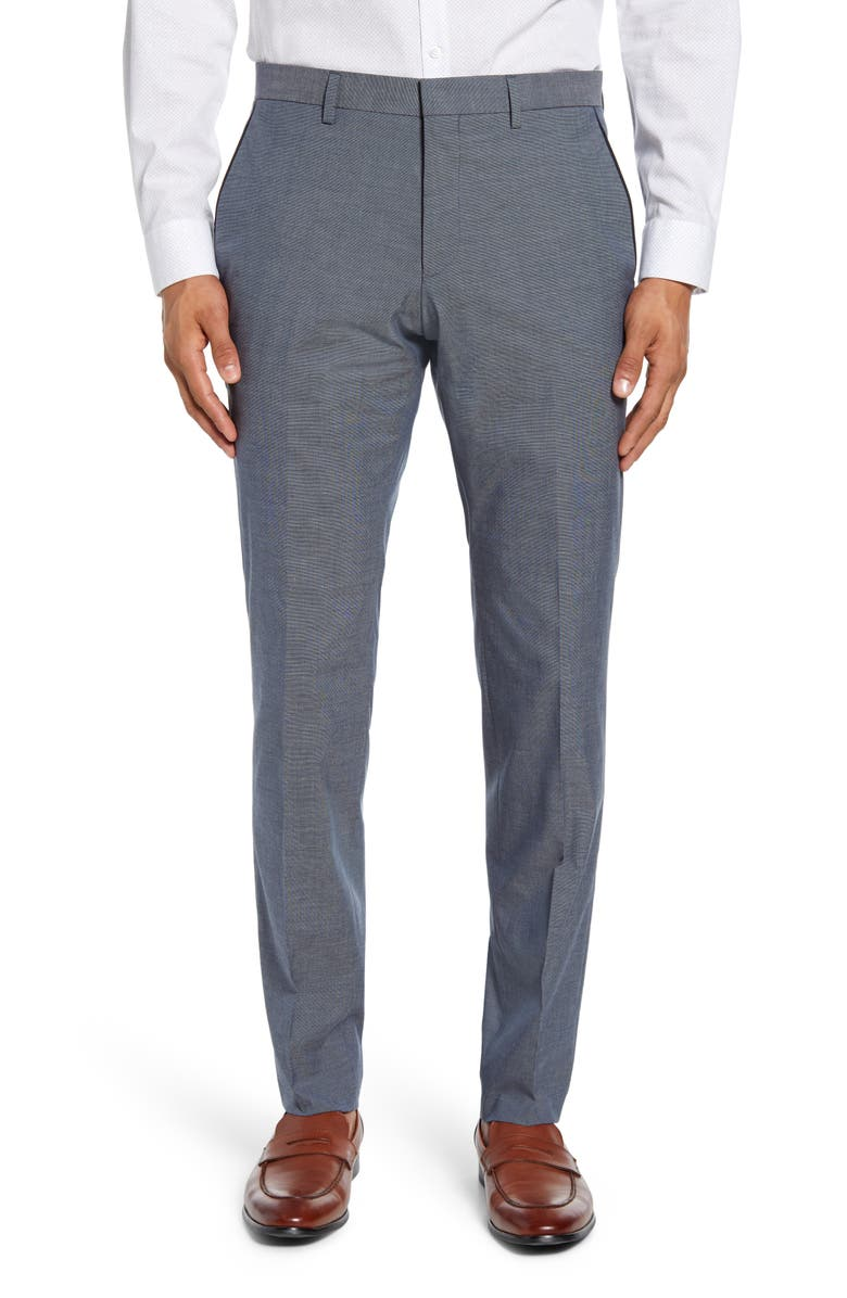 BOSS Gido Flat Front Solid Stretch Cotton Dress Pants, Main, color, 475