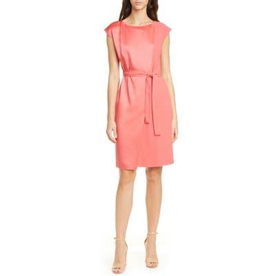 Boss Drapena Tie Waist Sheath Dress, Coral