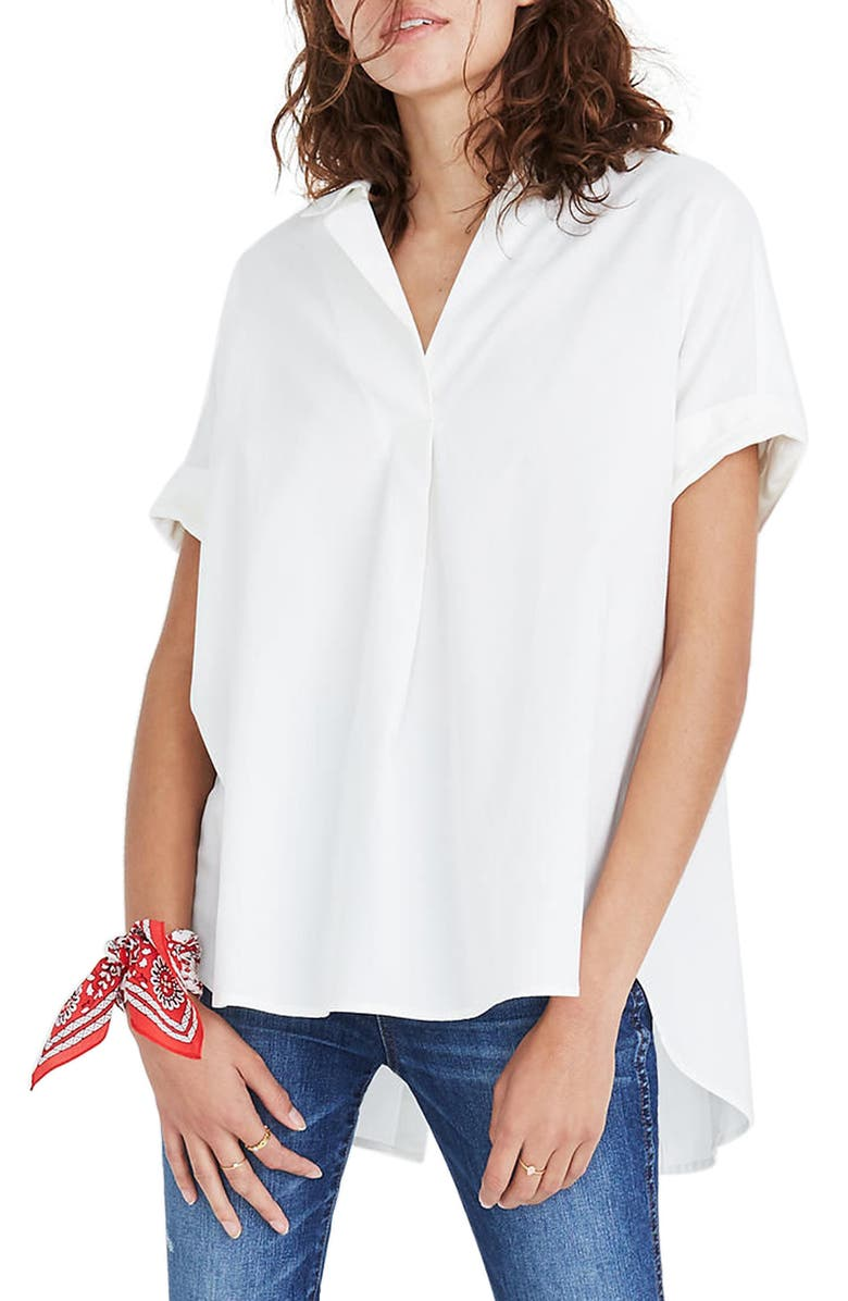 MADEWELL Courier Button Back Shirt, Main, color, 100