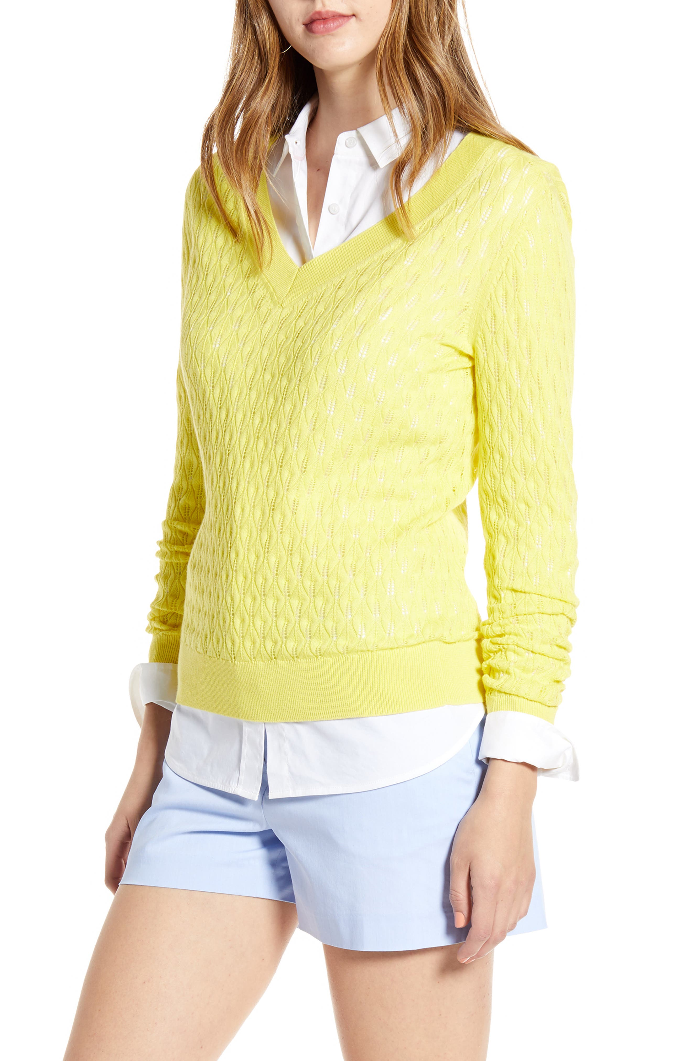 1901 V-Neck Pointelle Sweater, Yellow