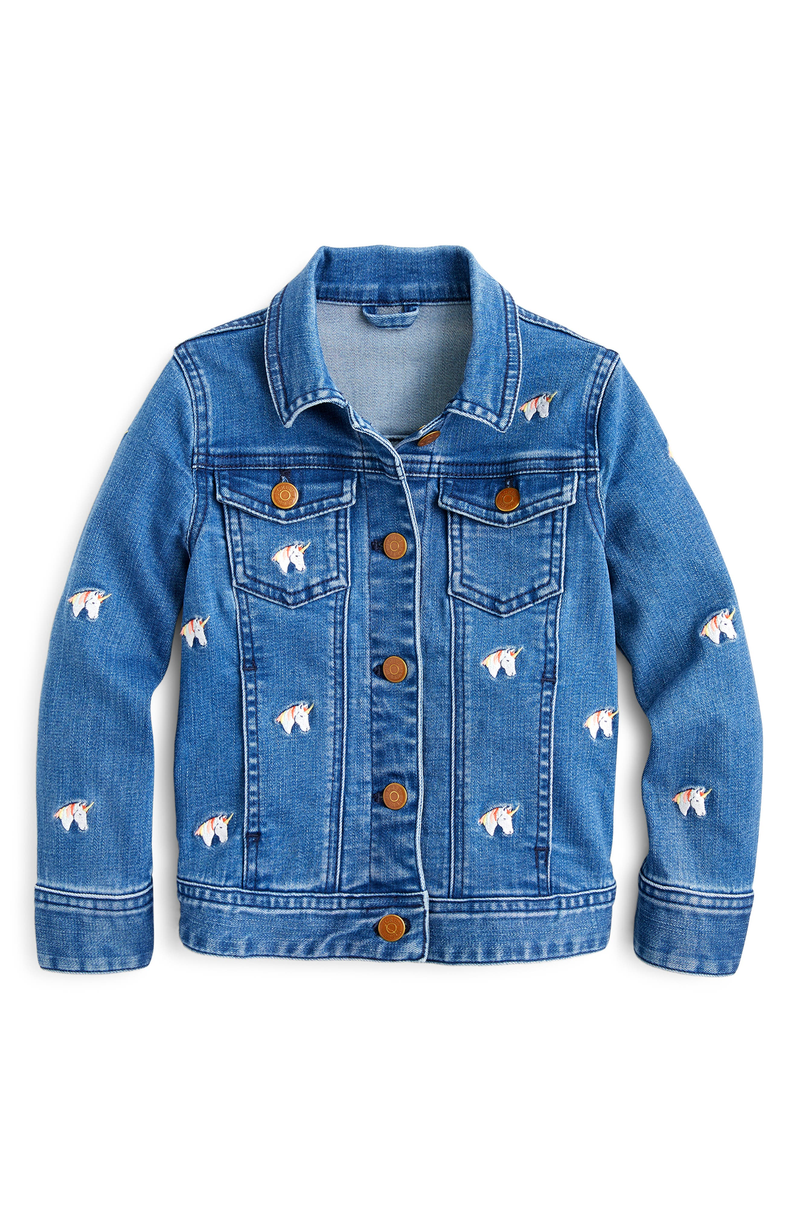 Toddler Girls Crewcuts By Jcrew Embroidered Unicorn Stretch Denim Jacket Size 2T  Blue