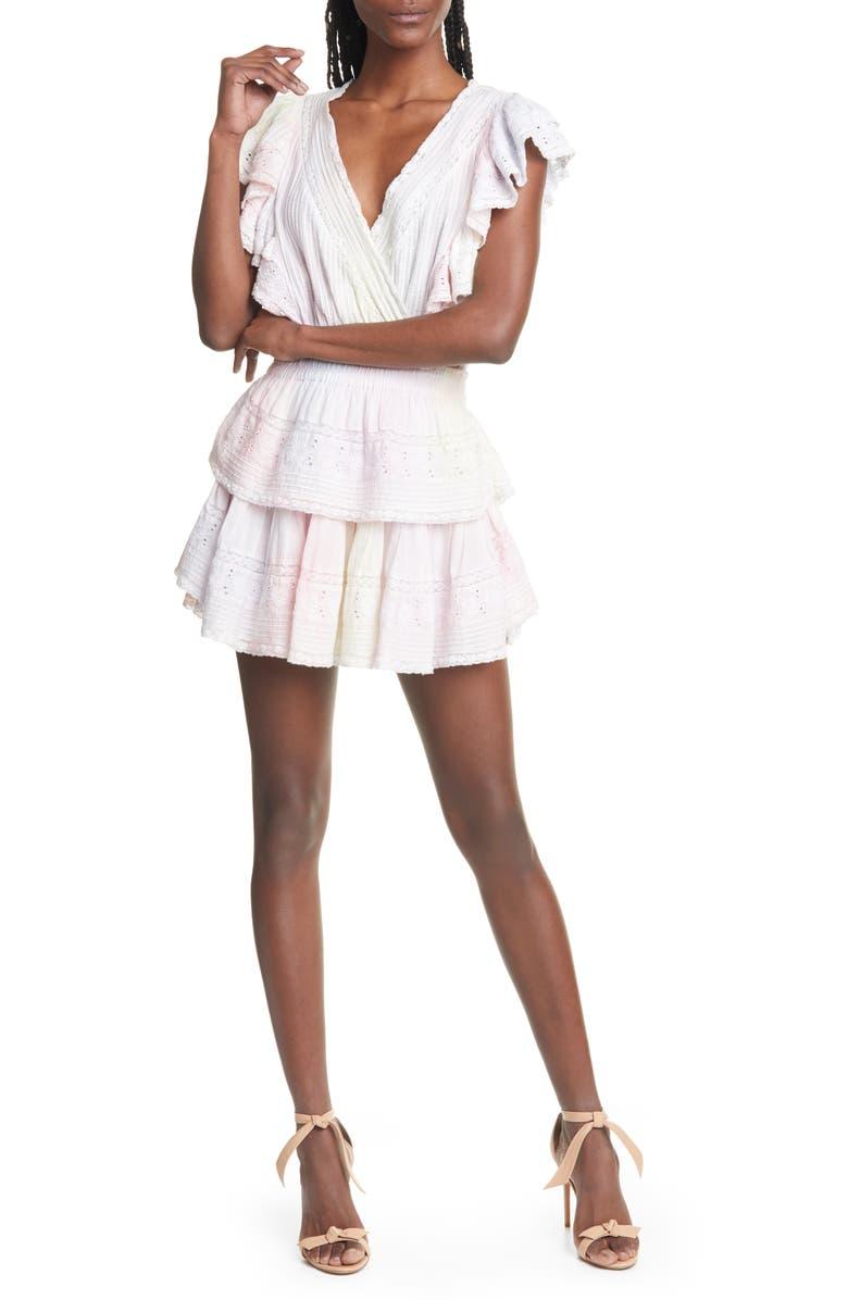 LOVESHACKFANCY Gwen Ruffle Cotton Eyelet Minidress, Main, color, MULTI TIE DYE