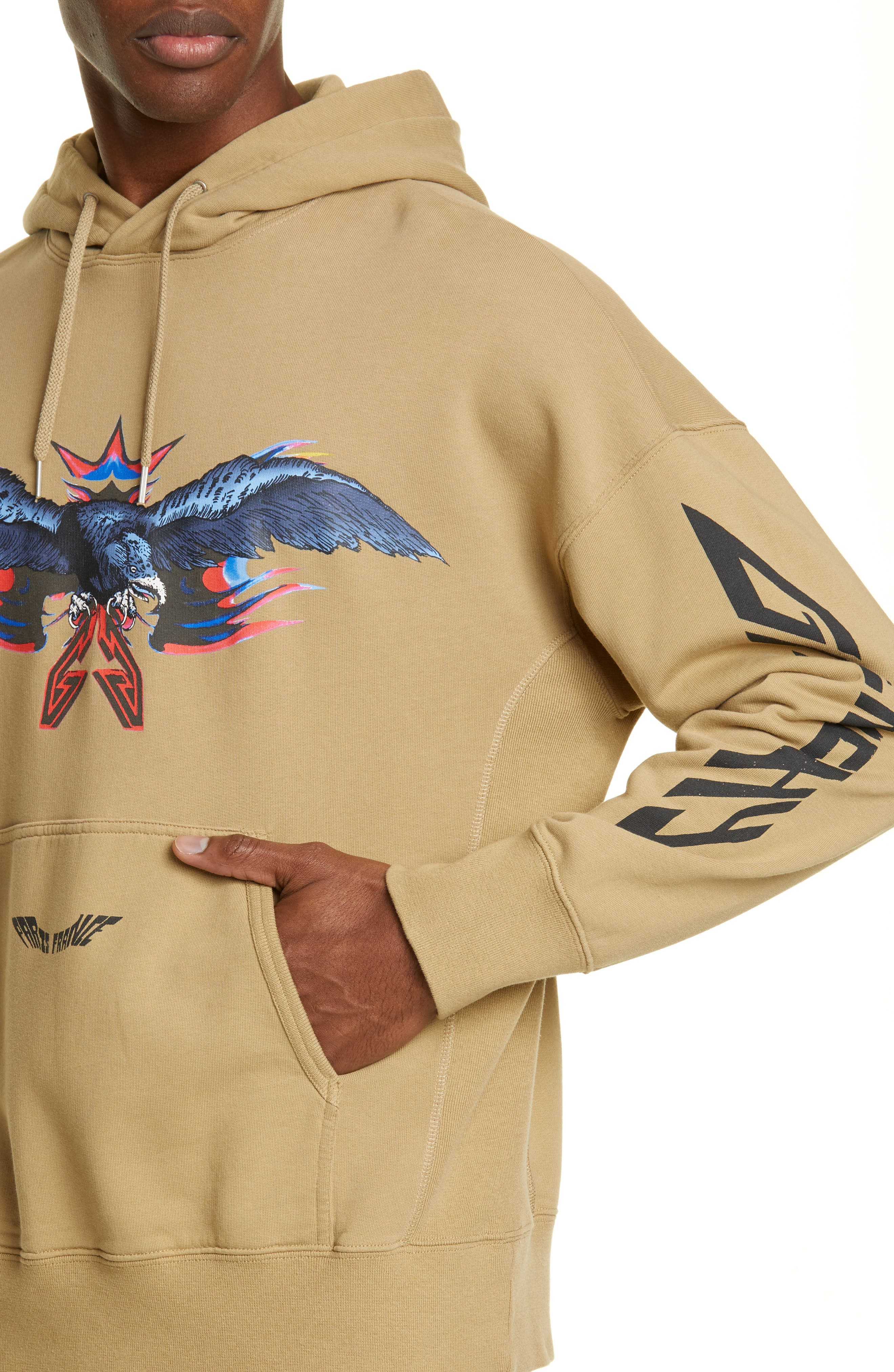 ,                             Eagle Print Hooded Sweatshirt,                             Alternate thumbnail 4, color,                             BEIGE