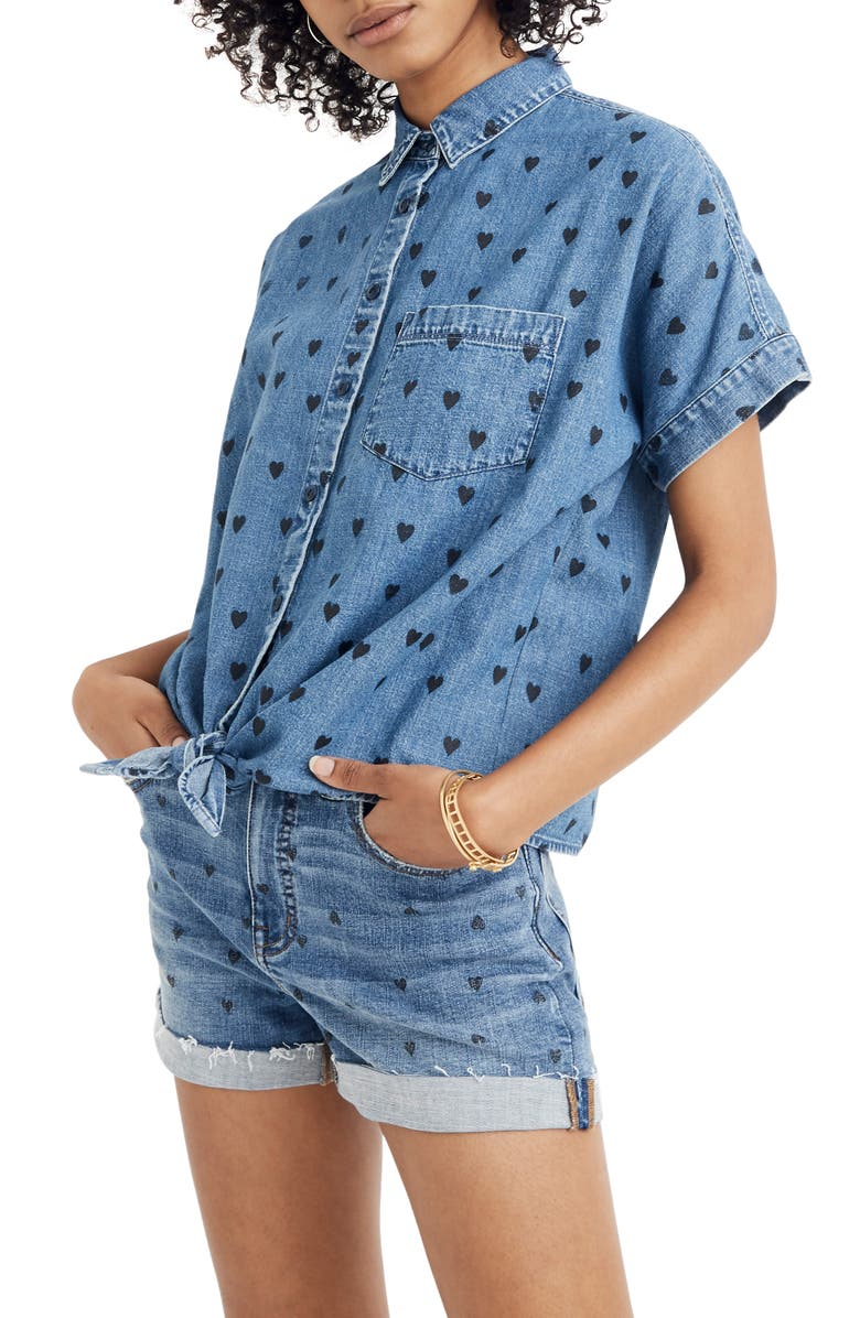 MADEWELL Tie-Front Denim Shirt, Main, color, 400