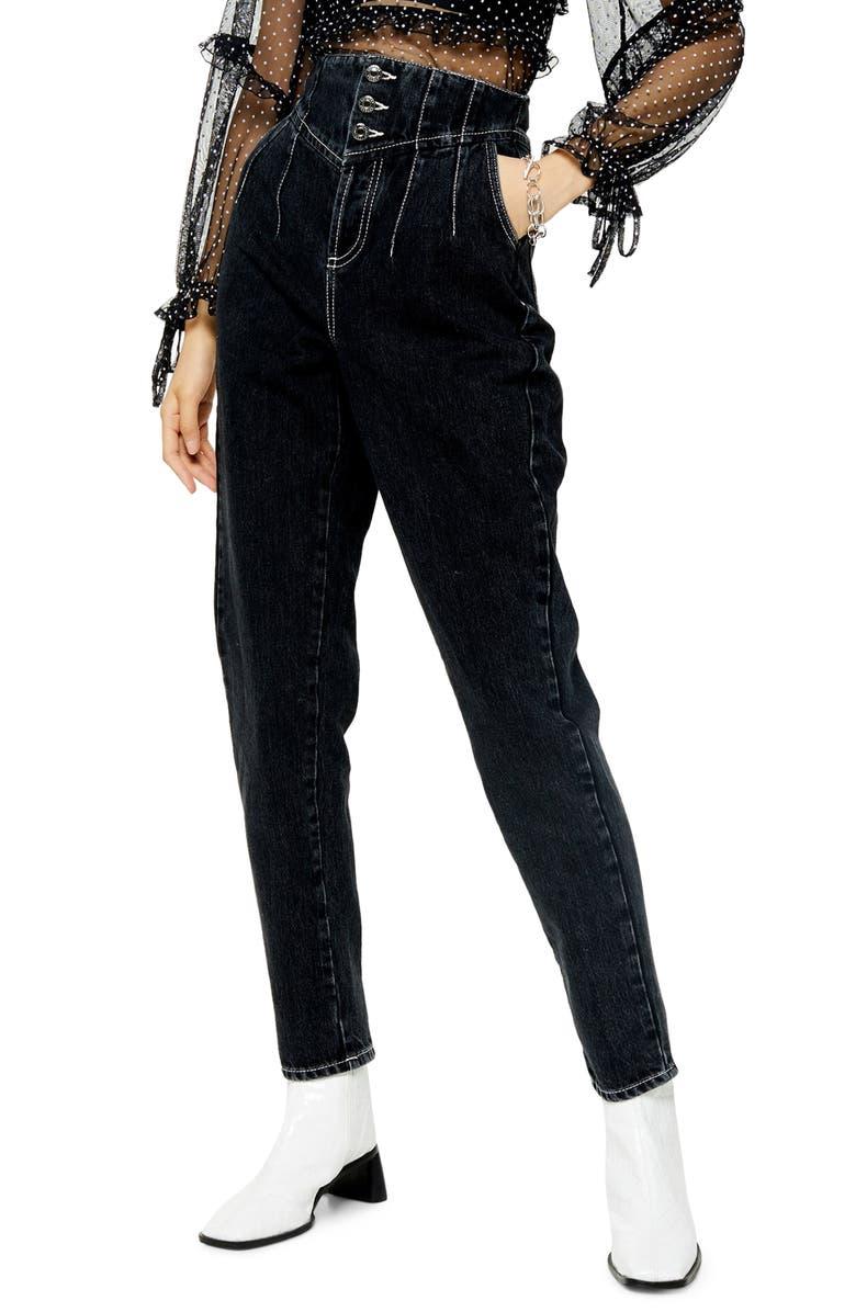 TOPSHOP Washed Black Cort Mom Jeans, Main, color, 003