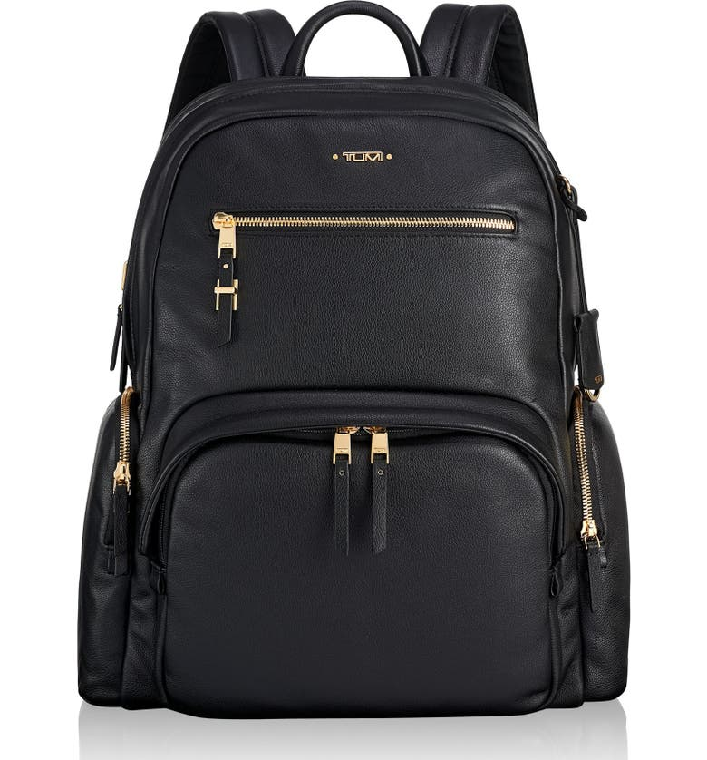 TUMI Voyageur Carson Leather Backpack, Main, color, BLACK
