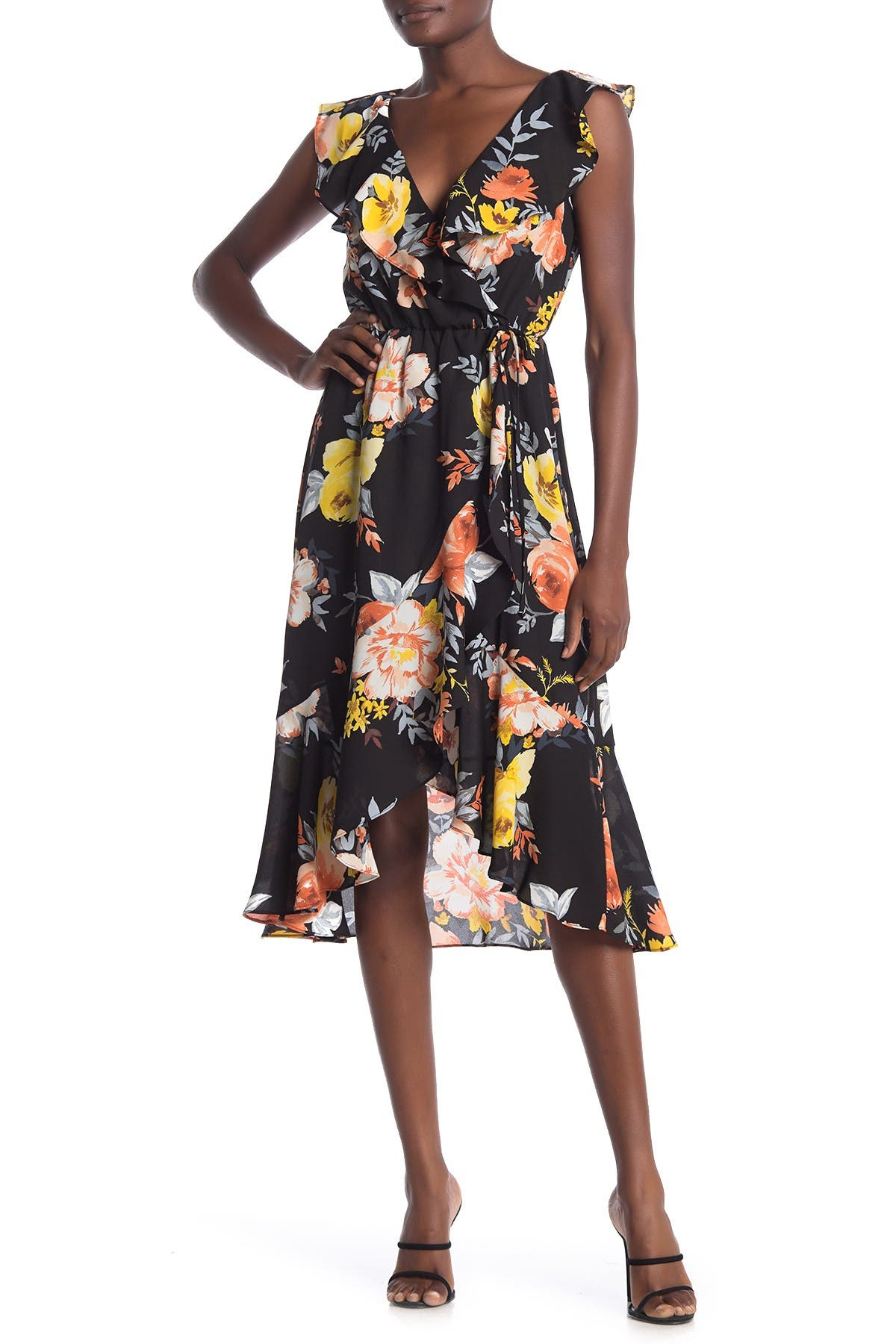 Image of Socialite Ruffled Faux Wrap High/Low Midi Dress