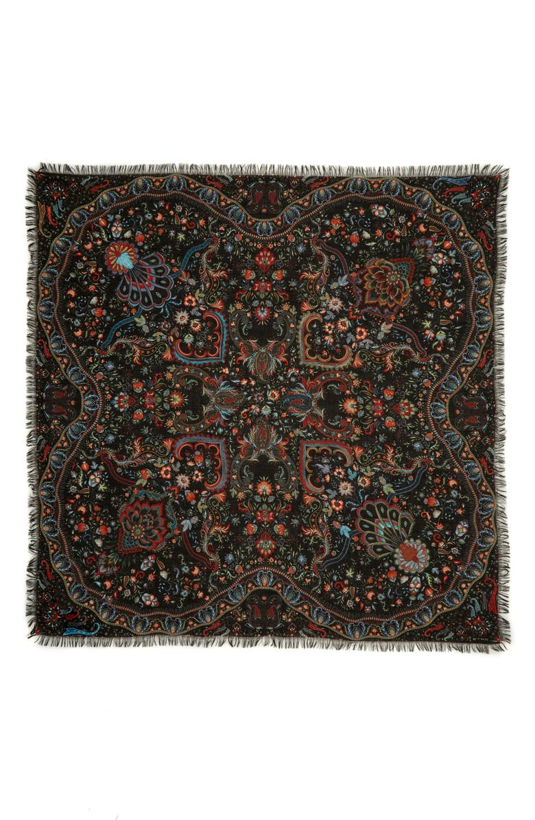 ETRO Floral Bombay Wool & Silk Shawl, Main, color, 001