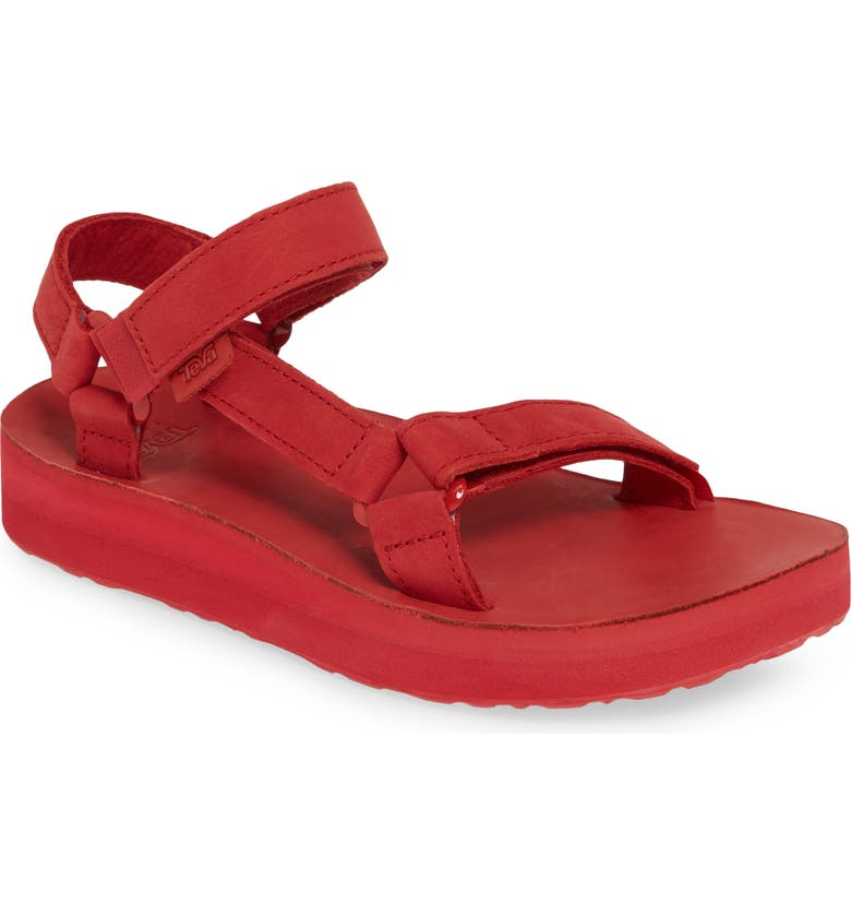 TEVA Midform Universal Sandal, Main, color, RACING RED LEATHER