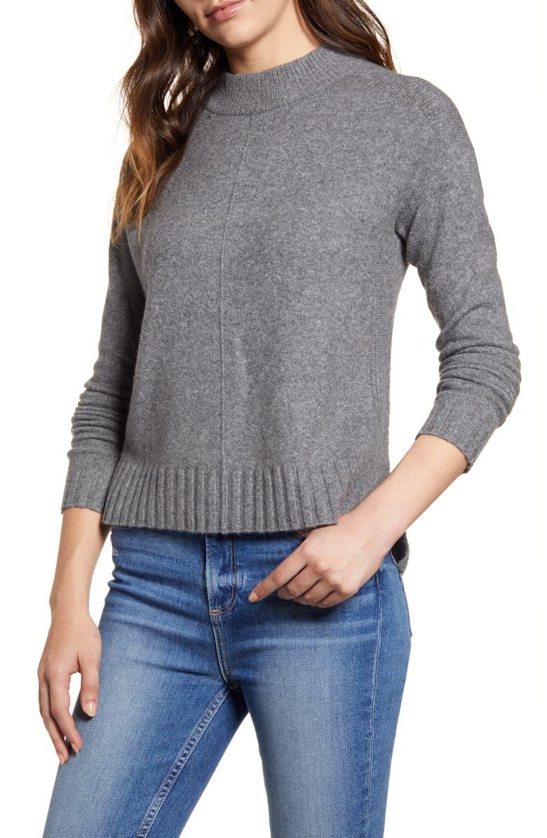 CASLON<SUP>®</SUP> Mock Neck Sweater, Main, color, GREY DARK HEATHER