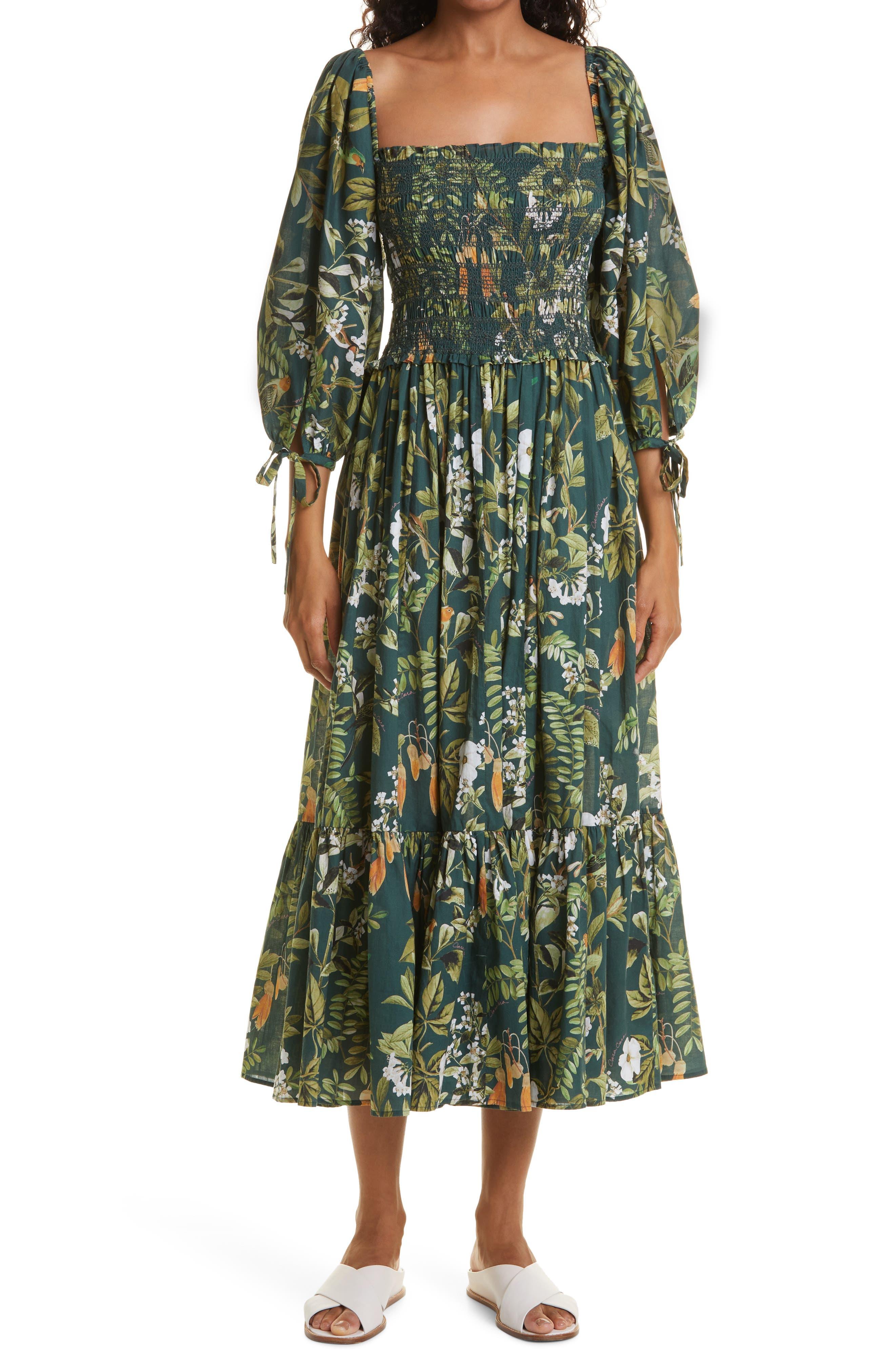 Jazzy Botanical Print Cotton Voile Dress