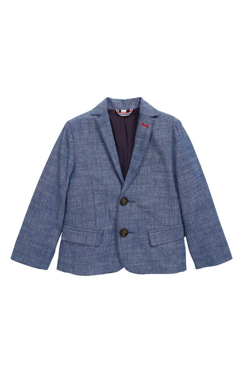 MINI BODEN Smart Cotton Chambray Blazer, Main, color, 424