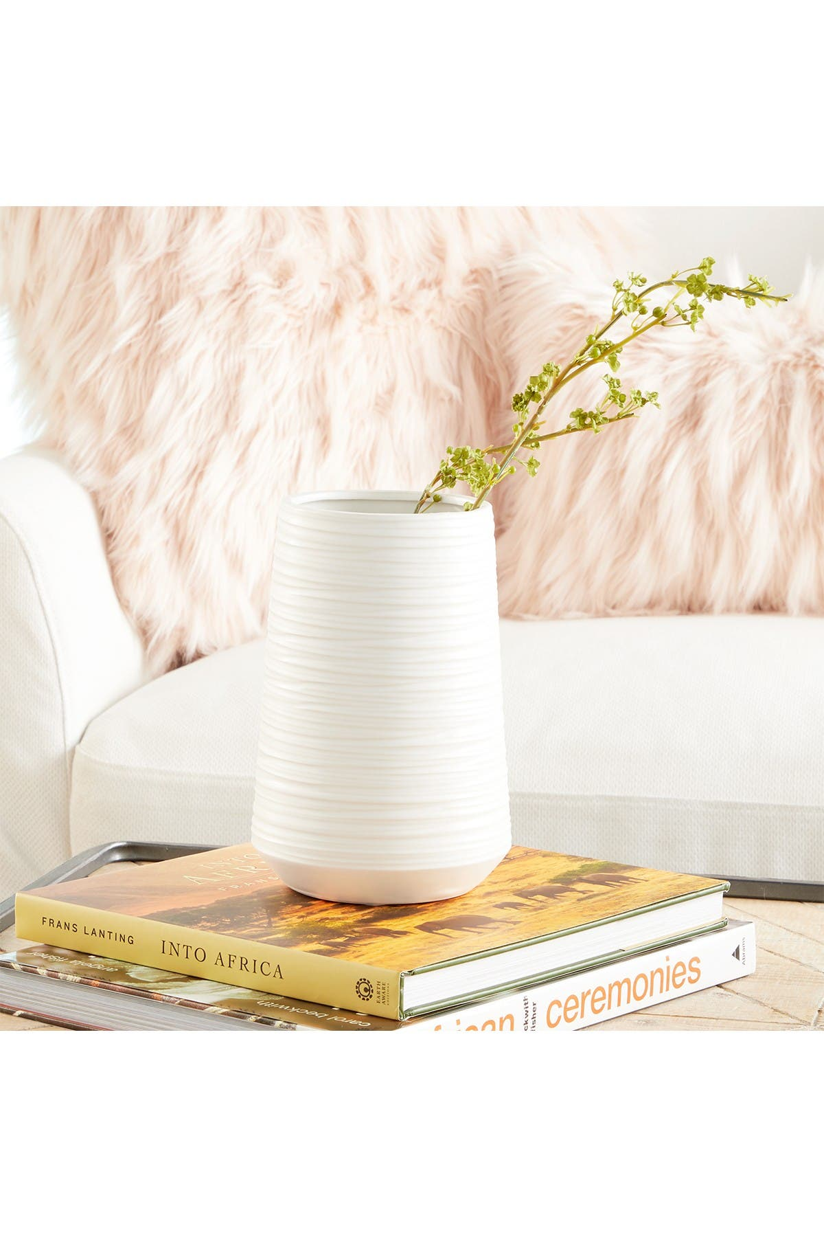 Image of CosmoLiving by Cosmopolitan Tall Wide Round White Ridged Porcelain Vase
