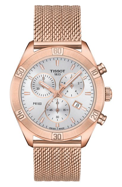 Tissot PR 100 SPORT CHIC CHRONOGRAPH MESH BRACELET WATCH, 36MM