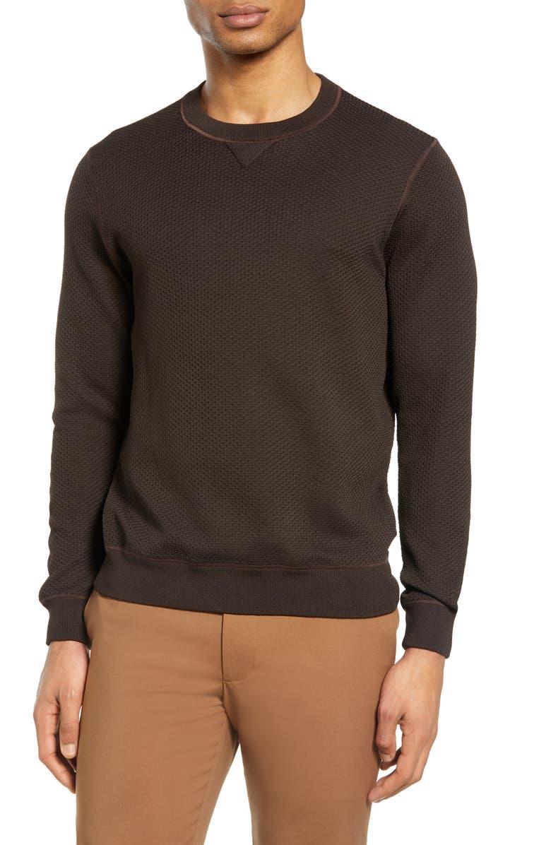 CLUB MONACO Feel Good Sweatshirt, Main, color, ESPRESSO