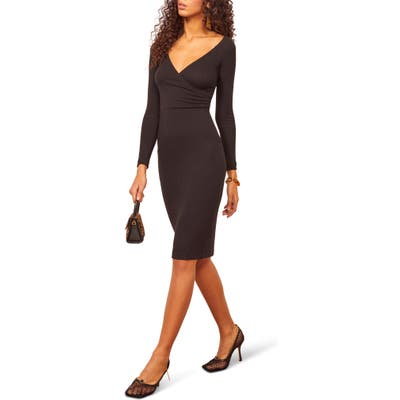 Reformation Mickey Ribbed Long Sleeve Surplice Dress, Black