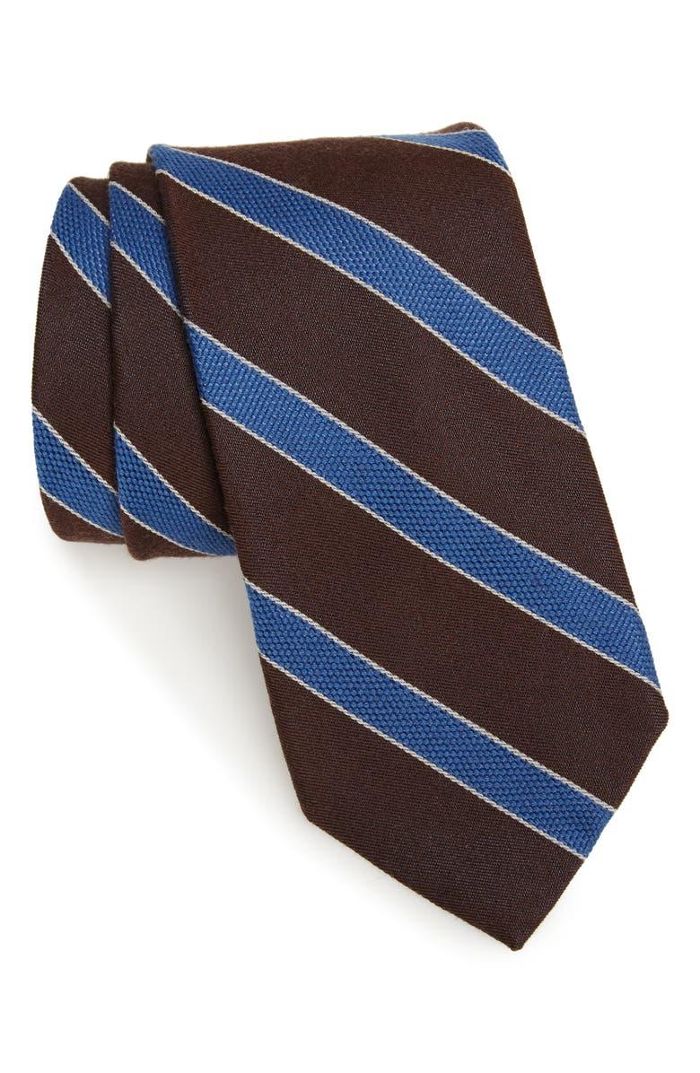 NORDSTROM MEN'S SHOP Urbina Stripe Wool & Silk Tie, Main, color, BROWN