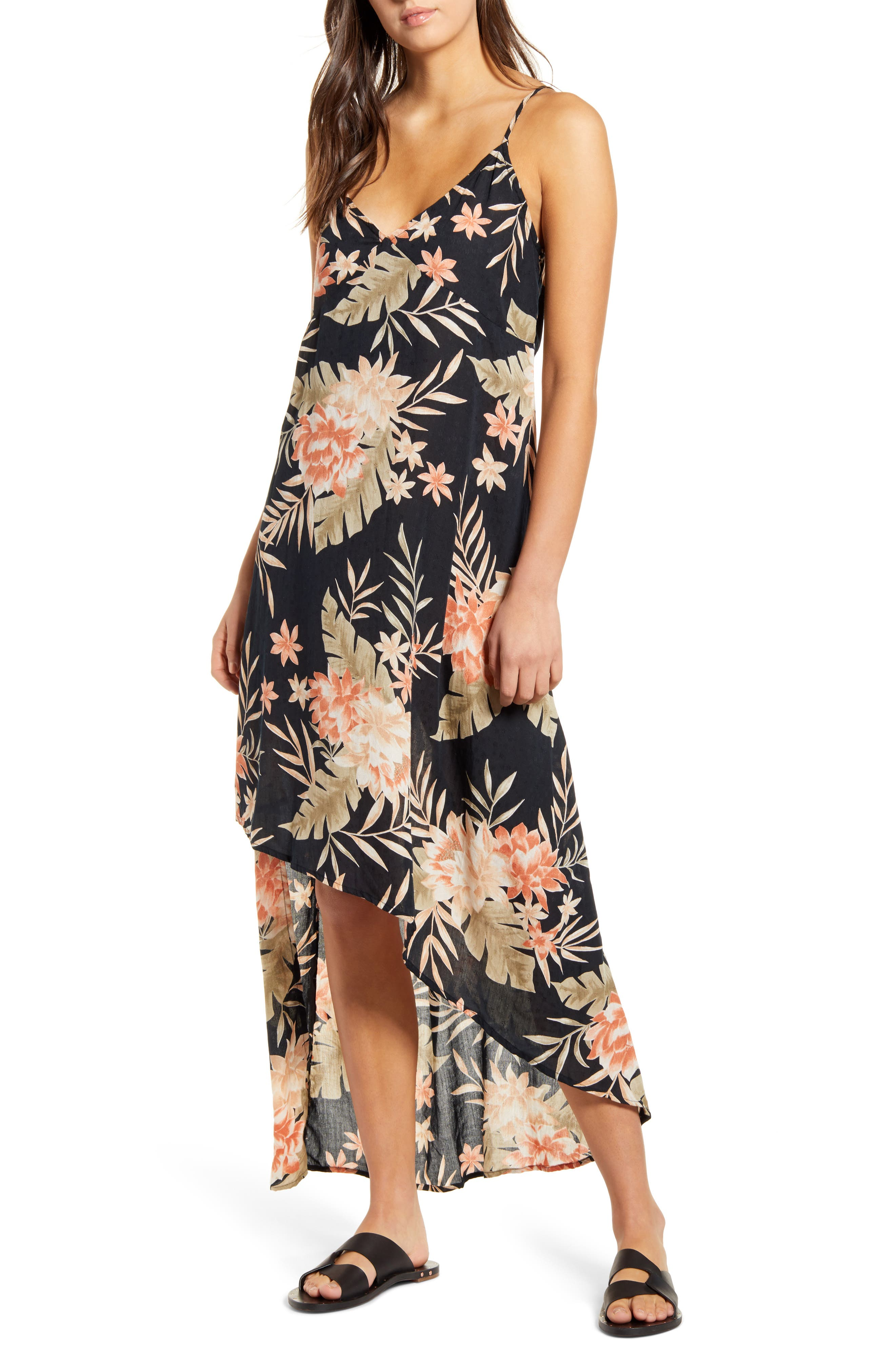 Image of Billabong Best Tropical Print High Low Maxi Dress