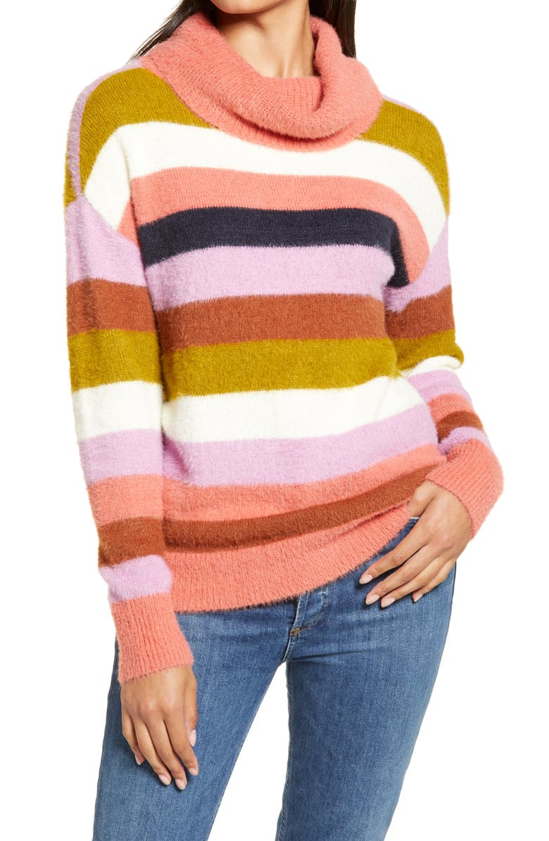 CASLON<SUP>®</SUP> Turtleneck Sweater, Main, color, OLIVE- CORAL STRIPE