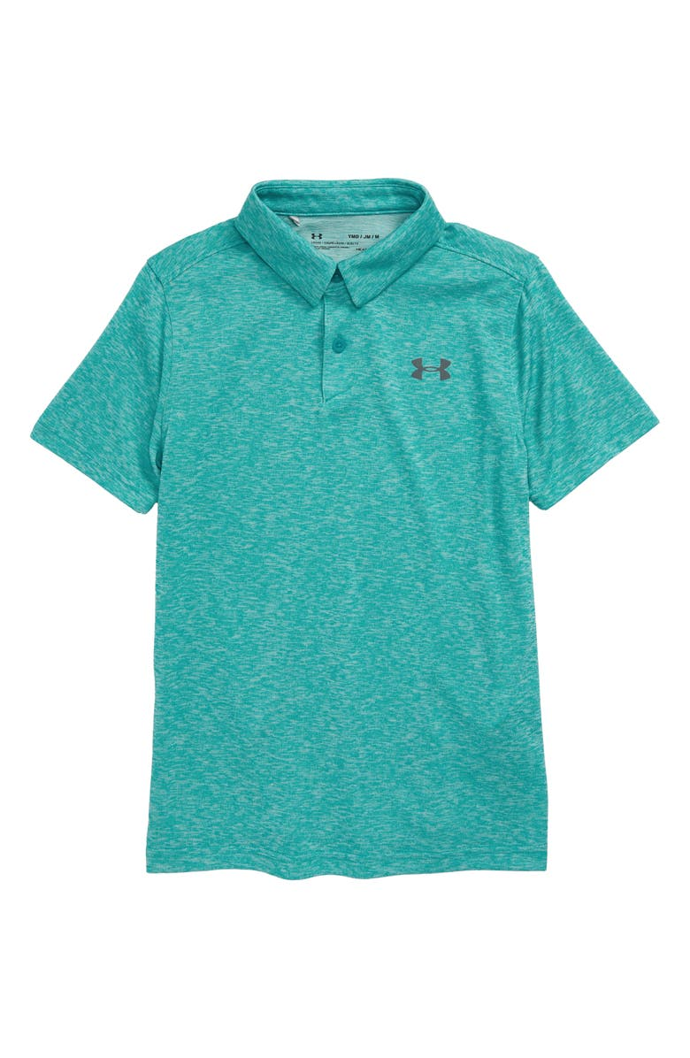 UNDER ARMOUR Tour Tips Performance HeatGear<sup>®</sup> Polo, Main, color, TEAL HEATHER/ PITCH GRAY