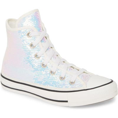 Converse Chuck Taylor All Star Sequin High Top Sneaker, Metallic