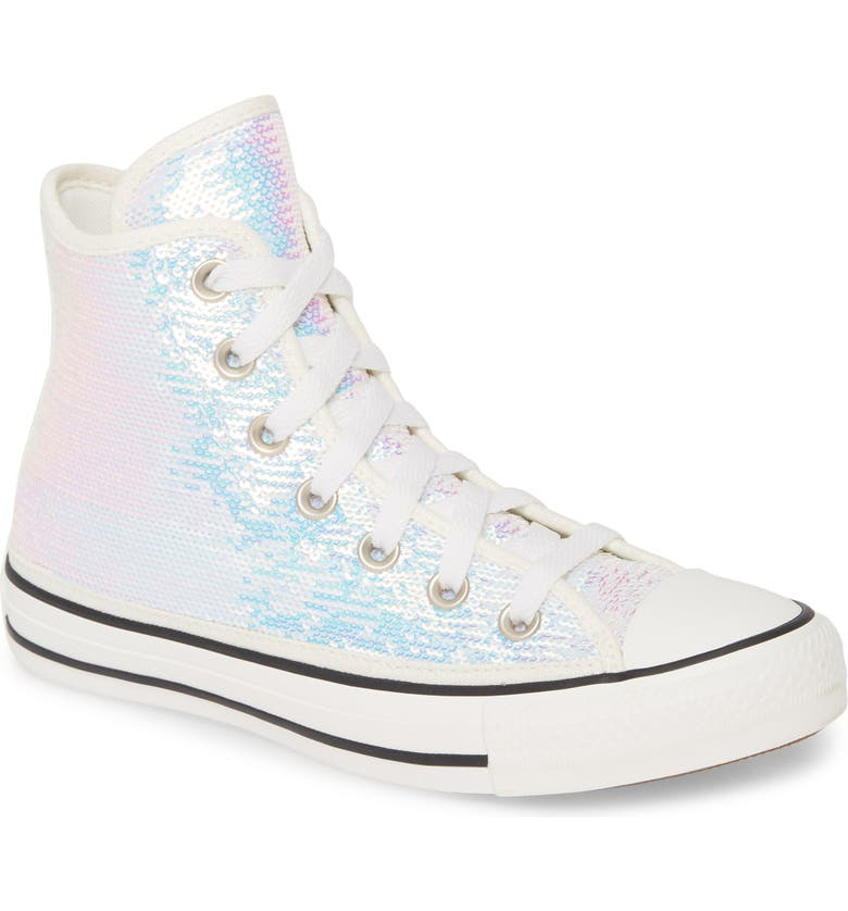 CONVERSE Chuck Taylor<sup>®</sup> All Star<sup>®</sup> Sequin High Top Sneaker, Main, color, SILVER/ VINTAGE WHITE/ BLACK