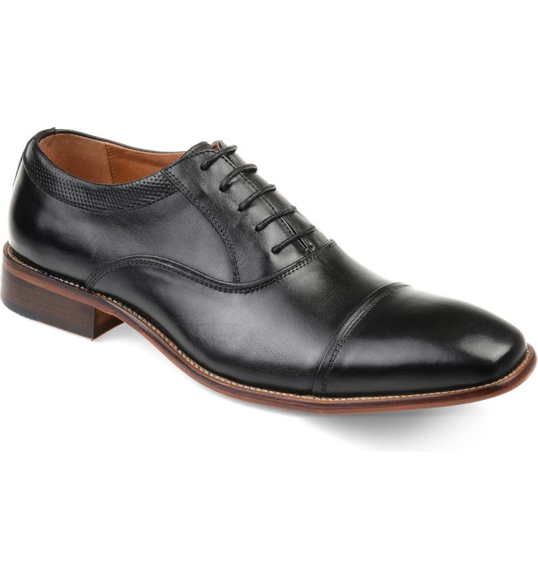 THOMAS & VINE Keaton Cap Toe Oxford, Main, color, BLACK LEATHER
