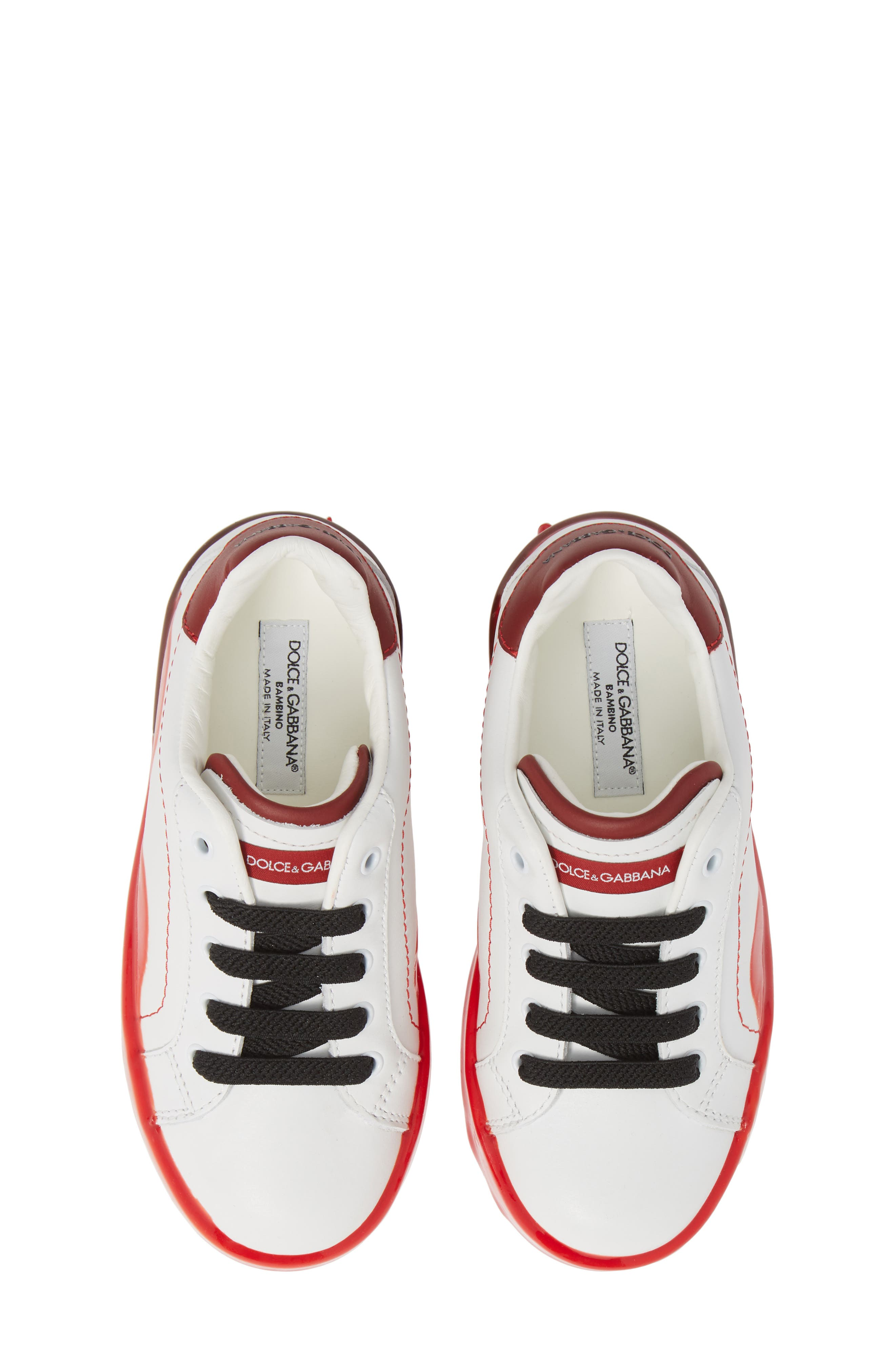 Dipped Sole Low Top Sneakers, Main, color, WHITE/ RED