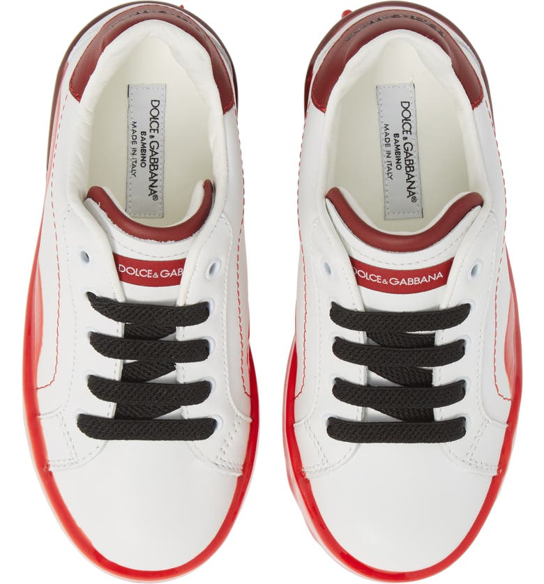 DOLCE&GABBANA Dipped Sole Low Top Sneakers, Main, color, WHITE/ RED