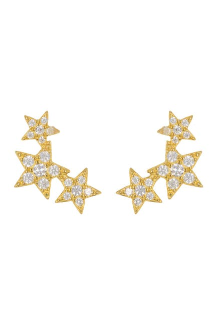 Image of ADORNIA 14K Gold-Plated CZ Shooting Star Earrings