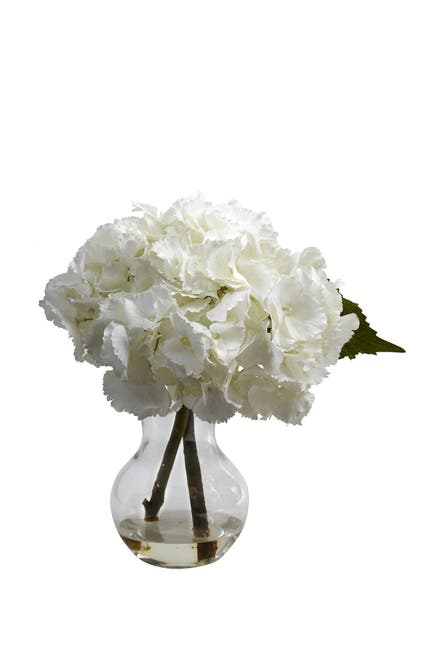Image of NEARLY NATURAL Blooming Hydrangea with Vase Arrangement