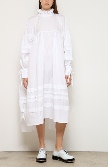 Beate Pleated Long Sleeve Midi Dress, video thumbnail