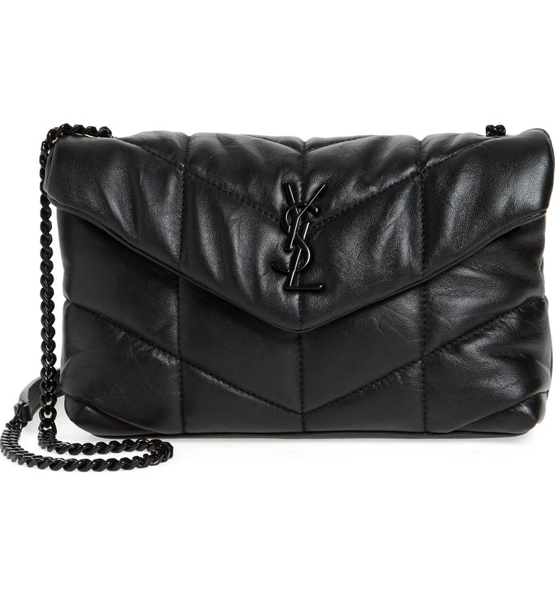 SAINT LAURENT Toy Loulou Puffer Quilted Leather Crossbody Bag, Main, color, NOIR