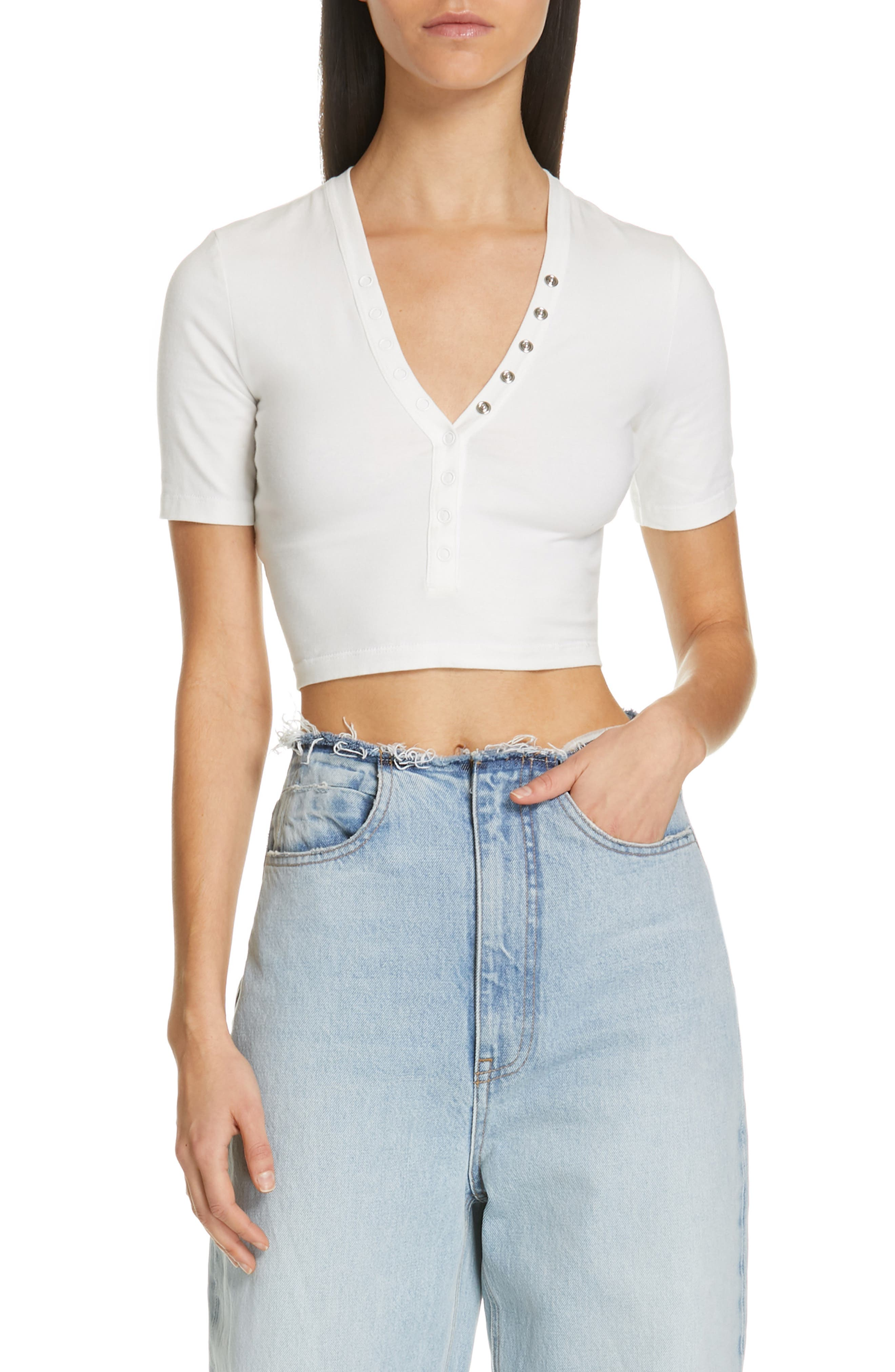 Snap Detail Crop Top, Main, color, IVORY