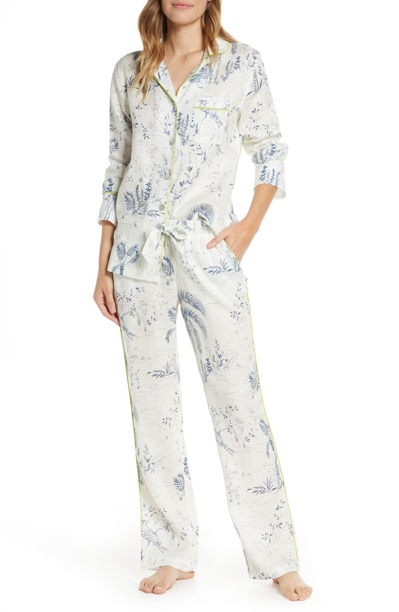THE LAZY POET Emma Linen Pajamas, Main, color, BLUE PEACOCK