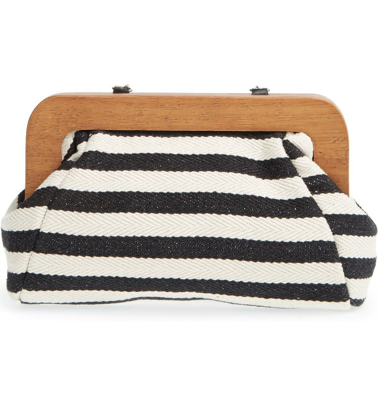 SOLE SOCIETY Wooden Frame Clutch, Main, color, 001