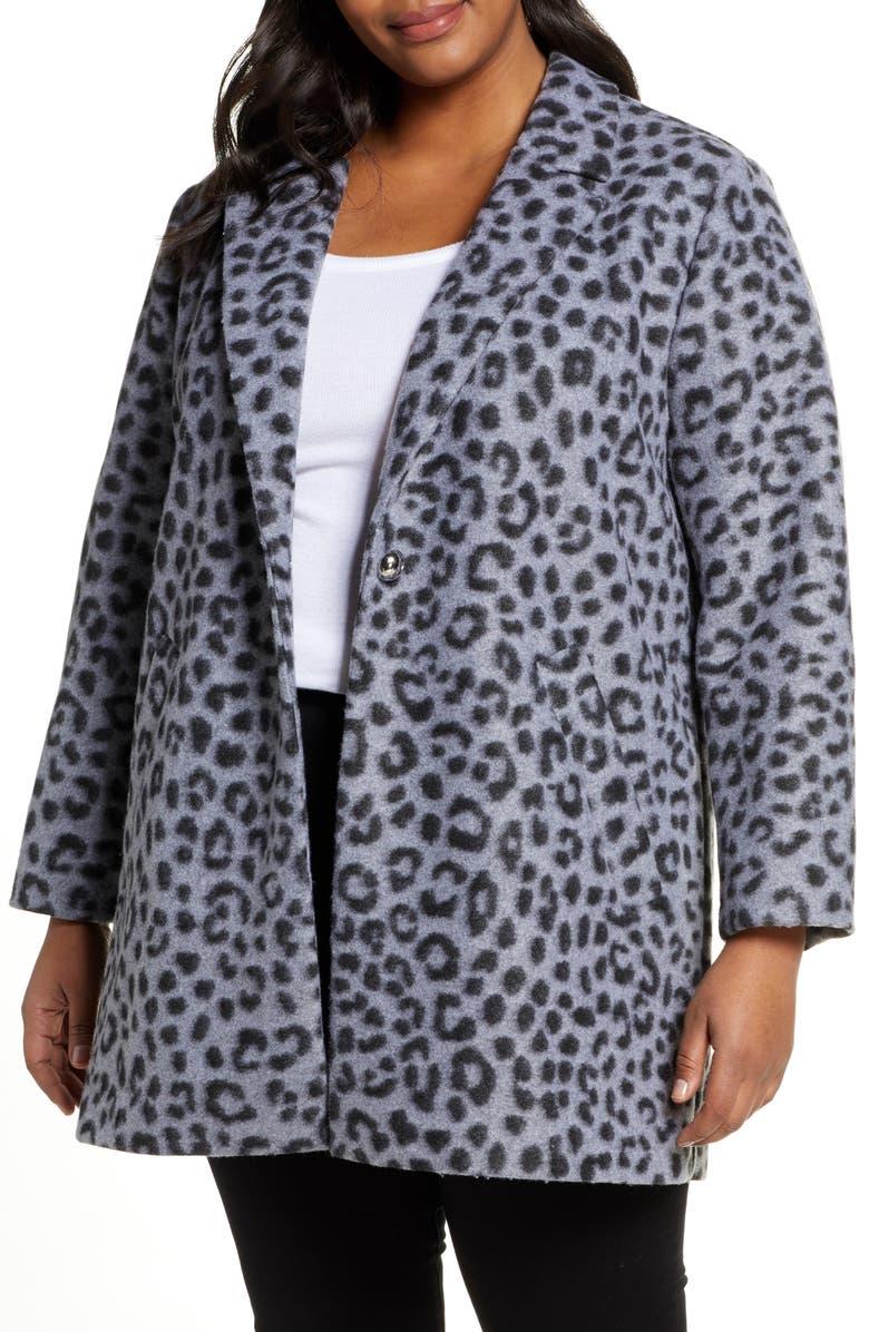 MICHAEL MICHAEL KORS Cheetah Brushed Jacquard Coat, Main, color, GUNMETAL