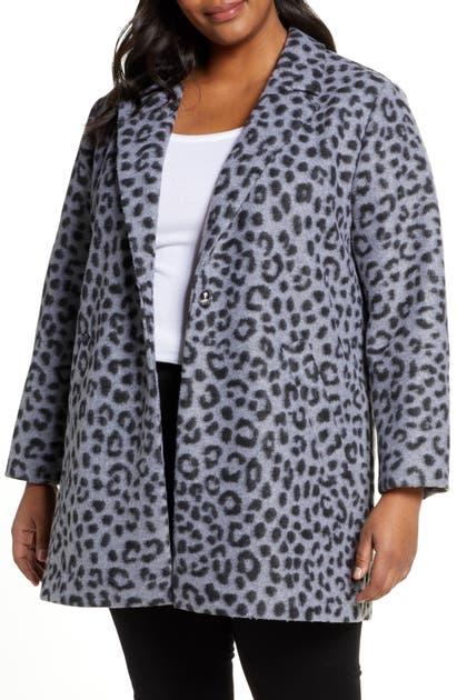 Michael Michael Kors Cheetah Brushed Jacquard Coat In Gunmetal